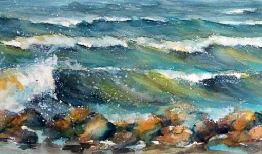Bewegtes Meer in Aquarell