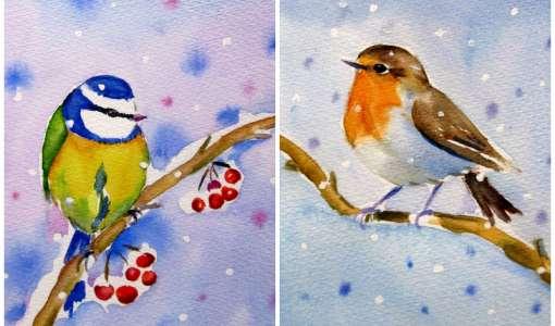 Vögel im Aquarell